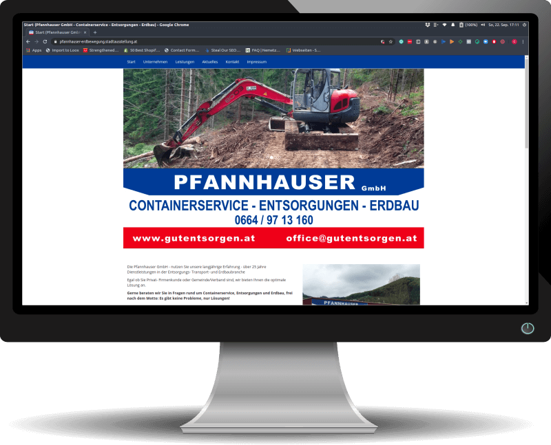 """Die alte Website """"gutentsorgen.at"""" der Pfannhauser GmbH"""