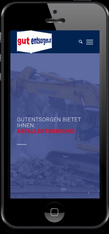Mobiloptimierte Website auf einem Smartphone