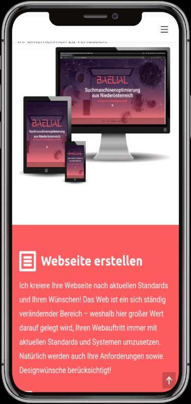 optimierte Website auf einem neuen Smartphone